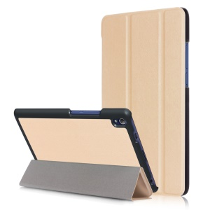 Smart Leather Tri-fold Stand Cover Case for Lenovo Tab3 8 Plus - Gold