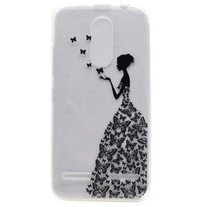Pattern Printing TPU Gel Phone Case for Lenovo K6 - Lady and Butterflies