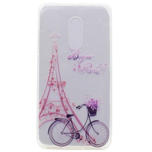 Pattern Printing TPU Case Accessory for Lenovo K6 Note - Eiffel Tower and Bicycle