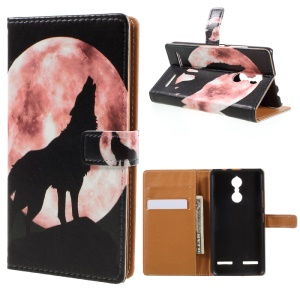 Pattern Printing Wallet Leather Case for Lenovo K6 - Wolf Howling at the Moon