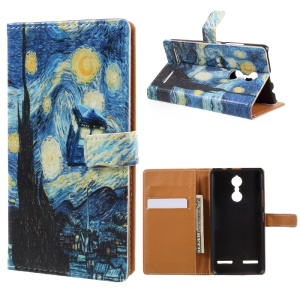 Pattern Printing Wallet Leather Mobile Phone Cover for Lenovo K6 - Oil Painting