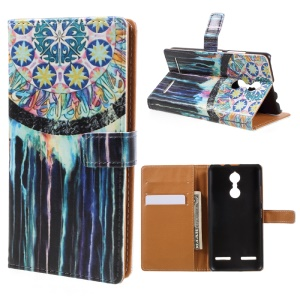 Patterned PU Leather Stand Card Slots Case for Lenovo K6 - Tribal Dreamcatcher
