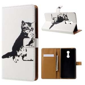 Patterned Wallet Leather Folio Stand Case for Lenovo K6 Note - Black Cat