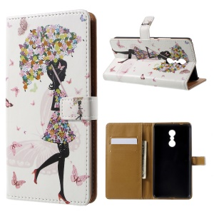 Patterned Wallet Leather Folio Stand Cover for Lenovo K6 Note - Pretty Lady with Flowered Umbrella
