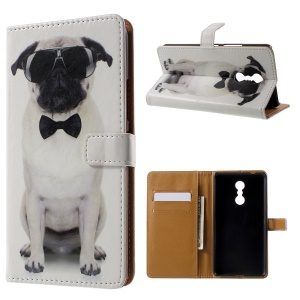 Patterned Wallet Leather Folio Stand Phone Case for Lenovo K6 Note - Cool Dog