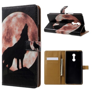 Patterned Wallet Leather Folio Stand Phone Shell for Lenovo K6 Note - Wolf and Moon