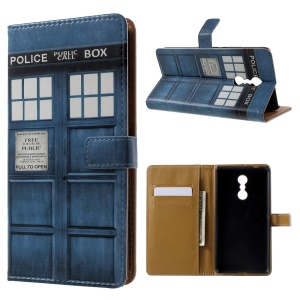 Patterned Wallet Leather Folio Mobile Phone Case for Lenovo K6 Note - Police Box