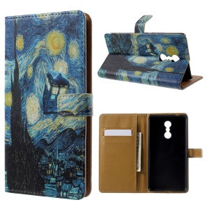 Patterned Wallet Leather Folio Mobile Phone Cover for Lenovo K6 Note - The Starry Night