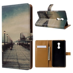 Patterned Wallet Leather Folio Mobile Phone Shell for Lenovo K6 Note - The Long Corridor