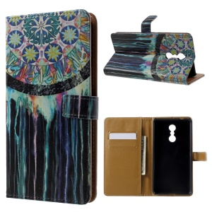 Patterned Wallet Leather Folio Cellphone Case for Lenovo K6 Note - Colorized Dream Catcher