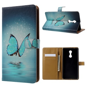 Patterned Wallet Leather Folio Phone Protector Cover Casing for Lenovo K6 Note - Butterfly