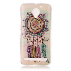 Pattern Printing IMD TPU Mobile Phone Case for Lenovo Vibe C2 - Feather Dream Catcher