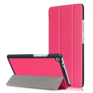 Stand Leather Tri-fold Flip Cover Case for Lenovo Tab3 7 Plus - Rose