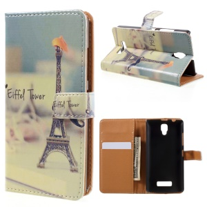 Pattern Printing Wallet Leather Case for Lenovo A2010 - Eiffel Tower and Mustache