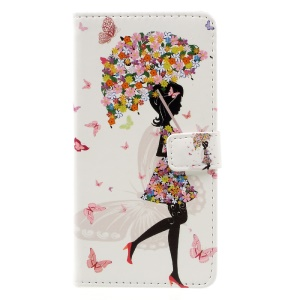 Patterned PU Leather Folio Case for Lenovo A2010 - Flowered Girl Holding Umbrella