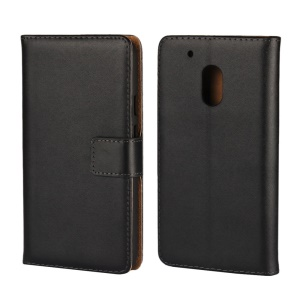 Split Leather Wallet Folio Stand Case for Motorola Moto G4 Play - Black