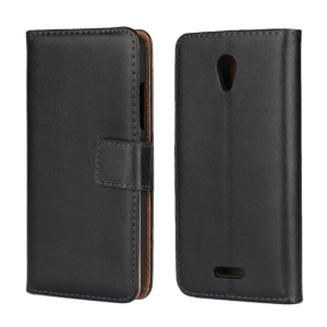 For Lenovo B Genuine Split Leather Wallet Phone Case with Stand - Black