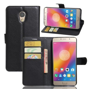 Litchi Skin Leather Wallet Stand Case para Lenovo P2 - Preto