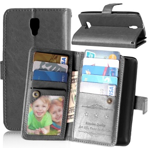 For Lenovo A2010 Wallet 9 Card Slots Crazy Horse Leather Stand Case Cover - Black