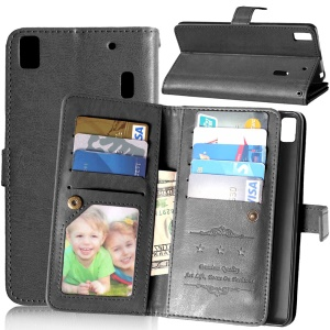 Crazy Horse 9 Card Slots Leather Wallet Case for Lenovo A7000 / A7000 Plus/ K3 Note - Black