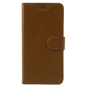 Crazy Horse Leather Phone Case Card Holder for Lenovo P2 with Steel Sheet - Brown