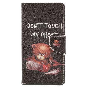Patterned Leather Wallet Phone Cover for Lenovo K6 Note - Do Not Touch My Phone