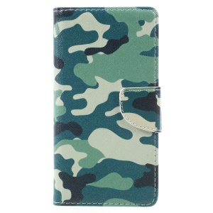 Pattern Printing Leather Wallet Phone Shell for Lenovo K6 Note - Camouflage Pattern