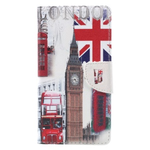 Patterned Leather Wallet Mobile Phone Case for Lenovo K6 Note - London Elements
