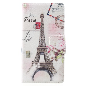 Patterned Leather Wallet Mobile Phone Cover for Lenovo K6 Note - Eiffel Tower