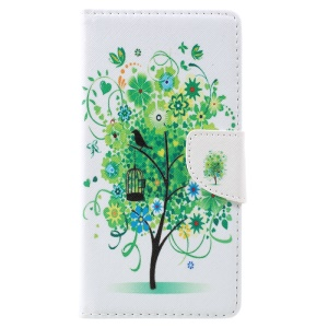 Pattern Printing Leather Wallet Cell Phone Cover Casing for Lenovo K6 Note - Green Tree