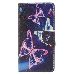 Patterned Leather Wallet Mobile Phone Stand Cover for Lenovo K6 Note - Dazzling Butterflies