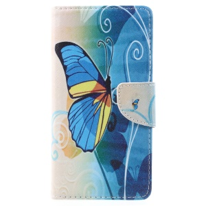 Patterned Leather Wallet Cellphone Stand Accessory Casing for Lenovo K6 Note - Blue Butterfly