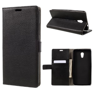 Litchi Grain Flip Phone Case Leather Stand Wallet for Lenovo P2 - Black