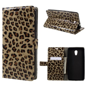 For Lenovo P2 Glossy Leopard PU Leather Wallet Case with Stand