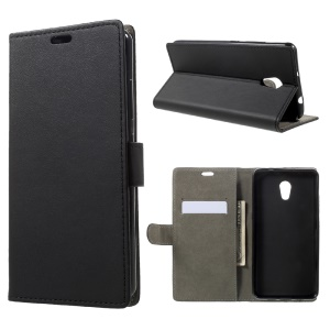Phone Accessory Leather Wallet Stand Case for Lenovo P2 - Black