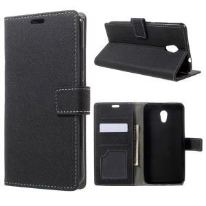 Cross Texture Wallet Flip Phone Case (PU Leather + TPU) for Lenovo P2 - Black