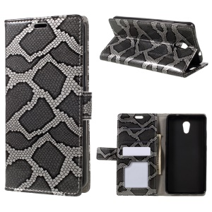 Snake Skin Leather Wallet Phone Case with Stand for Lenovo P2 - Grey