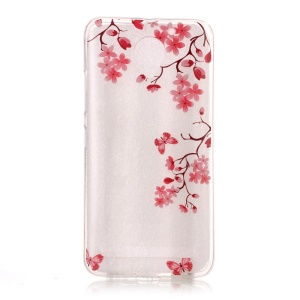 Clear TPU IMD Patterned Phone Case for Lenovo Vibe C2 - Red Flowers and Butterflies