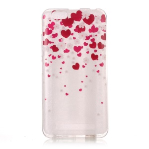 Patterned Clear IMD TPU Case for Lenovo Vibe C A2020 - Heart Pattern
