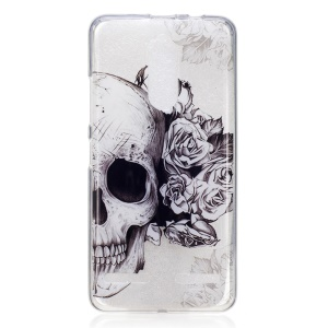 IMD Pattern Printing TPU Phone Protection Casing for Lenovo K6 / K6 Power - Skull and Flowers