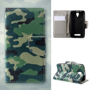 Pattern Printing Leather Wallet Phone Shell for Lenovo A1000 - Camouflage Pattern