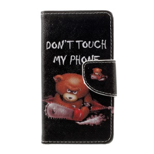 Patterned Leather Wallet Phone Cover for Lenovo A1000 - Bear and Do Not Touch My Phone