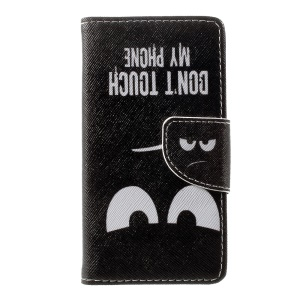 For Lenovo A1000 Patterned Leather Wallet Phone Case - Warning and Serious Expression
