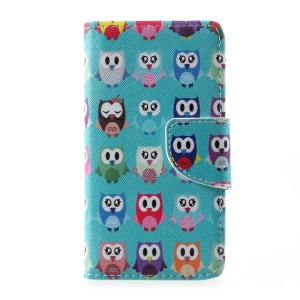 Patterned Leather Wallet Phone Shell Mobile Accessory for Lenovo A1000 - Cute Owls