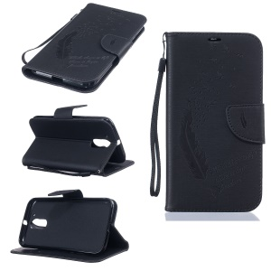 Feather Quote Imprinted Leather Wallet Case Stand for Motorola Moto G4 / G4 Plus - Black