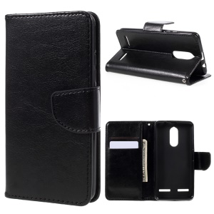 For Lenovo K6 Crazy Horse Stand Leather Wallet Case Cover - Black