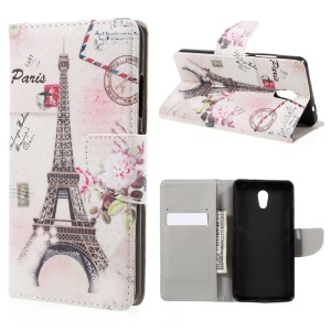 Pattern Printing Wallet Leather Stand Case for Lenovo P2 - Eiffel Tower
