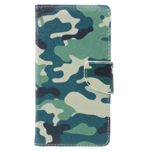 Pattern Printing Wallet Leather Stand Cover for Lenovo P2 - Camouflage Pattern