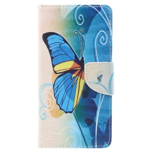 Pattern Printing Magnetic Leather Stand Cover for Lenovo P2 - Blue Butterfly