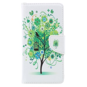 Pattern Printing Phone Leather Stand Case for Lenovo P2 - Green Tree